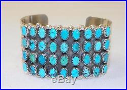 Grandnavajogeraldine Jamessterling Silvergenuine Turquoise4 Row Bracelet