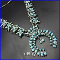 GRAND Vintage NAVAJO Sterling Silver Turquoise Cluster SQUASH BLOSSOM Necklace