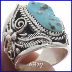 Genuine Natural Kingman Turquoise Big Boy Men's Ring Navajo Made Sizes 9 To 14