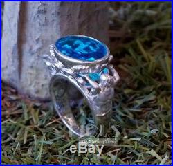 God Of Sea Oval Aquamarine stone Poseidon 925 Silver Men's Ring