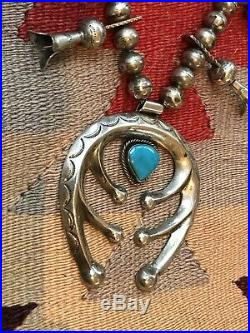 Gorgeous Old Pawn Squash Blossom necklace Sterling Silver & Turquoise