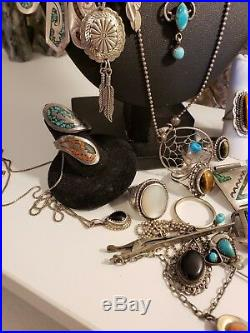 HUGE LOT Sterling silver Native American Southwestern turquoise coral not scrap