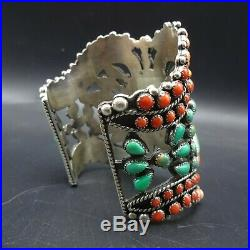 HUGE Lorenzo James NAVAJO Sterling Silver TURQUOISE CORAL SPINY Cuff BRACELET