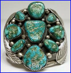 HUGE Native American Navajo Sterling Silver Green Turquoise Cuff Bracelet