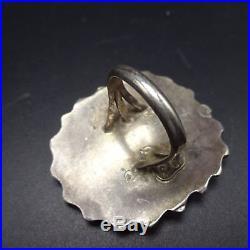 HUGE Old 1940s Vintage NAVAJO Sterling Silver & TURQUOISE Cluster RING size 9.25
