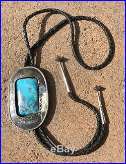 HUGE Pawn Native American Navajo Sterling Silver KINGMAN SLAB Turquoise Bolo Tie
