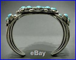 HUGE Vintage Zuni Carico Lake Turquoise Sterling Silver Cluster Cuff Bracelet
