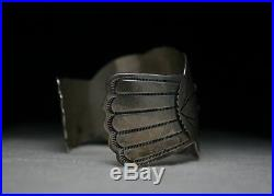 Huge & Heavy Navajo Arts & Crafts Guild Turquoise Sterling Silver Cuff Bracelet