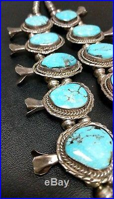 Huge Native American 25 inch Sterling Silver Turquoise Squash Blossom Necklace