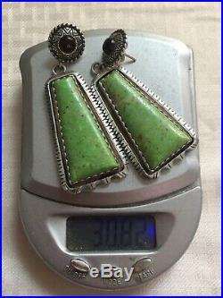 Huge Old Dead Pawn Sign NAVAJO Green Turquoise 2 Long Dangle EarringsFree ship