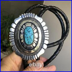 Huge! Old NAVAJO SOUTHWESTERN Thomas Singer TURQUOISE STERLING SILVER BOLO TIE