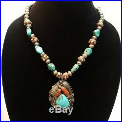 Huge Old Pawn Native American Turquoise Coral Sterling Bench Bead Necklace