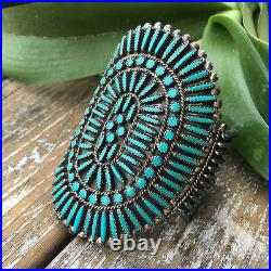 Huge Petit Point Turquoise And Sterling Silver Cuff Old Pawn Jewelry