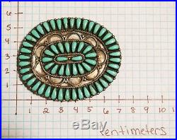 IN Signed Sterling Silver & Turquoise Concho Navajo Belt