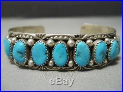 Incredible Vintage Navajo Domed Turquoise Sterling Silver Bracelet Old