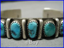 Incredible Vintage Navajo Turquoise Sterling Silver Bracelet Old Cuff