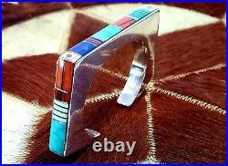 Jim Harrison Navaho Vintage Inlay Cuff Bracelet Sterling Silver Awarded Artist
