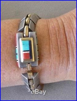 Jimmy King Jr. Navajo sterling gold gemstone box clasp man's link bracelet signed