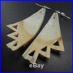 Kewa Artisan ONEIDA CATE' Multi Stone Inlay EARRINGS Orange Spiny Oyster Shell