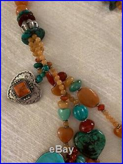 Kim Yubeta 3 strands of gorgeous Turquoise, Spiny Oyster, and sterling silver