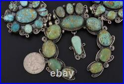 LARGE Navajo Handmade Sterling Silver + Multi-Turquoise SQUASH BLOSSOM NECKLACE