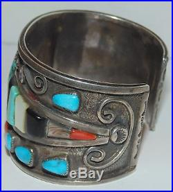LARGE TURQUOISE HOPI Marcus Lomayestewa STERLING SILVER CUFF BRACELET CORAL