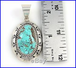 LARRY MOSES YAZZIE Navajo Solid Sterling Silver Dry Creek Turquoise Pendant J AX