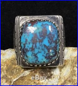 Large! Julian Lovato Sterling Silver & Lavender Pit Bisbee Turquoise Ring, 28.5g