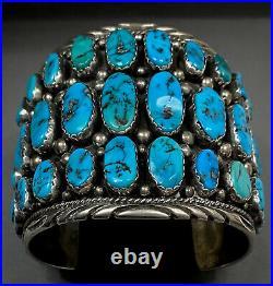 MASSIVE Vintage Navajo Sterling Silver Turquoise Cluster Cuff Bracelet 165 Grams