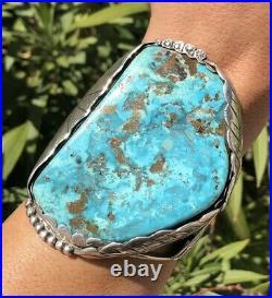 Massive 3 3/4 Pawn Navajo Blue Gem Slab Turquoise Sterling Silver Cuff Bracelet