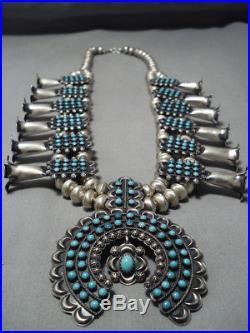 Museum Turquoise Vintage Navajo Sterling Silver Squash Blossom Necklace Bracelet