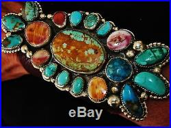 NATIVE AMERICAN TURQUOISE LEATHER BRACELET, 134g Sterling Silver CHAVEZ, 5.2 wide