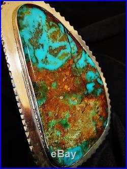 NAVAJO BIG IMPRESSIVE KINGMAN TURQUOISE RING, 78grams Sterling Silver sz 8.5
