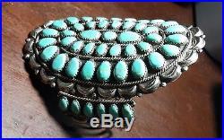 NAVAJO Danny L Wauneka Waunika Sterling Silver & Turquoise Cluster Bracelet DLW