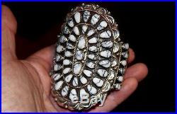 NAVAJO Danny Wauneka Sterling Silver White Buffalo Turquoise Cluster Bracelet