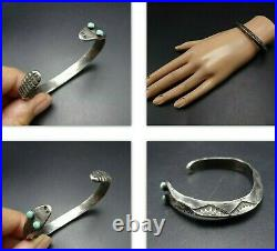NAVAJO Hand-Stamped Sterling Silver TURQUOISE Eyes SNAKE BRACELET Carinated Cuff