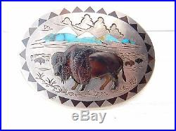 NAVAJO Henry & Linda Barber Sterling Silver Turquoise BUFFALO Concho Belt Buckle