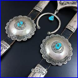 NAVAJO STERLING SILVER & TURQUOISE HORSE HEADSTALL / BRIDLE by JOHN SILVER