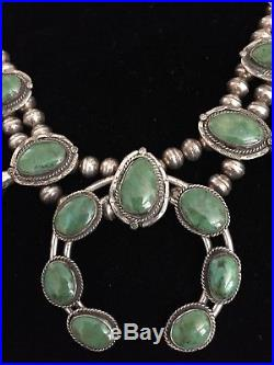 NAVAJO Sterling Silver & Turquoise SQUASH BLOSSOM Massive Necklace OLD PAWN