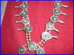 Navajo Turquoise And Sterling Silver Squash Blossom Necklace
