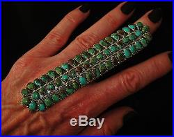 NEEDLEPOINT XXXLONG TURQUOISE SIGNED RING, B. BEGAY NEZ Sterling Silver, sz 9