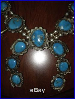NICE Vintage NAVAJO Sterling Silver Kingman Turquoise SQUASH Blossom Necklace