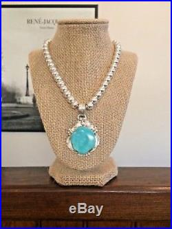 Native Am LARGE Sterling Silver Turquoise Pendant on Sterling Bead Necklace 925