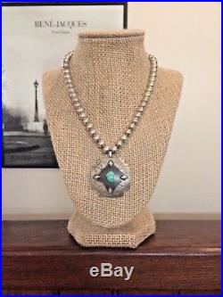 Native Am Sterling Silver Bead Necklace & Stamped Sterling Turquoise Pendant