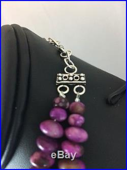 Native American 2 S Sugilite Bead Sterling Silver Necklace
