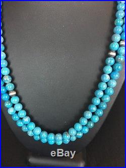 Native American 2 Strand Blue Turquoise Sterling Silver Necklace