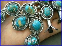 Native American Fox Turquoise Sterling Silver Squash Blossom Naja Bead Necklace