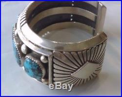 Native American JEANETTE DALE Sterling Silver Hallmark Turquoise Estate Bracelet