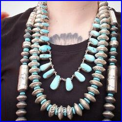 Native American Jewelry sterling silver big saucer Navajo pearls with turquoise
