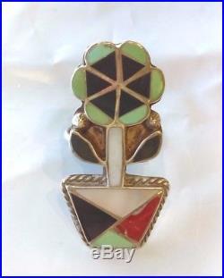 Native American L. L. SHETIMA Sterling Silver Turquoise Estate Ring Vintage Zuni
